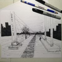 Inktober 6:  An Urban Area by YukiraNine
