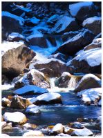 Snowy Rocky Falls by shell4art