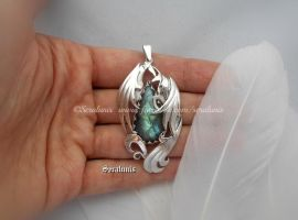 'One more kiss', handmade sterling silver pendant by seralune
