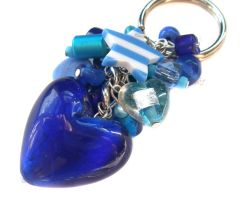 Chunky blue heart keychain by fairy-cakes