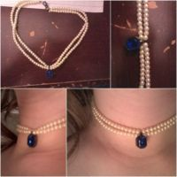 white bead.blue pendant choker by KittyOfDeadlyPoking