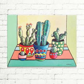 Whimsical Cactus Painting Wall Art by hjmart