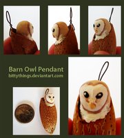 Nut Pendant Barn Owl - SOLD by Bittythings