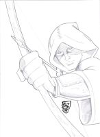 Hooded Archer Pencil Sketch by JPVilchisartist