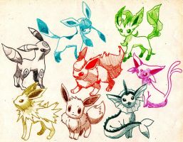 Eevee and all of them by Macuarrorro