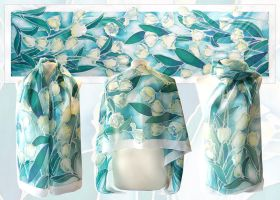 White Tulips silk scarf - FOR SALE by MinkuLul