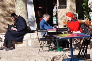 Respite moment with Laptop and coffe - Jerusalem by Rikitza