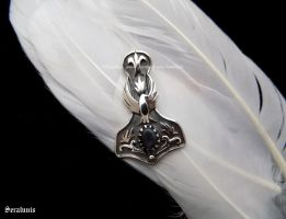 'Thor's hammer with raven',sterling silver pendant by seralune