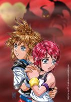 Sora and Kairi in danger by dtdesigns