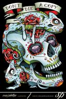 Chameleon Sugar Skull Tattoo Style Clothing by Sam-Phillips-NZ