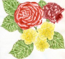 Pink, Camelia, Daffodils by pollywriggle