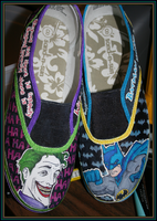 Batman and Joker -shoes- by silencedwhispers