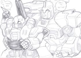 guzzle and impactor scribbles by prisonsuit-rabbitman