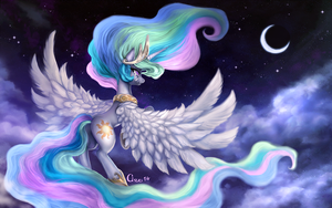 Celestia's Night (wallpaper size) by Cizu
