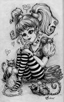 Kitty Girl (monochrome) by SarembaArt