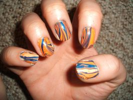 Orange And Blue Water Marble - Right Hand by lettym