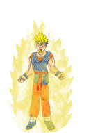 Dragon Ball OC Sen-Gaal SSJ-mode by MRC-MRGNSTRN