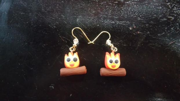 Calcifer Earrings Howl's Moving Castle by TheOwlsRoost