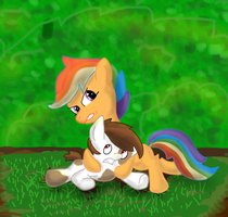 Pipsqueak and Scootaloo wrestling by Paucity-Luxuriance