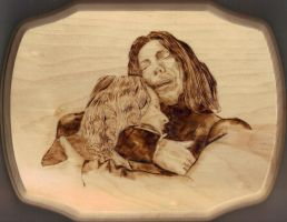Severus and Lily Pyrography by wickedtiger86