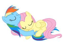 Fluttershy And Rainbow Dash Sleeping by MysteriousBrony