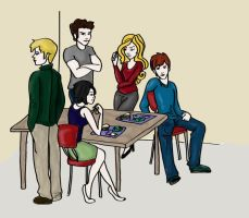 The Cullens at Luch-Colored by Belle1620