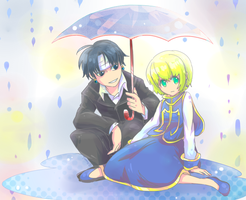 Kurokura in the rain by Foxmi