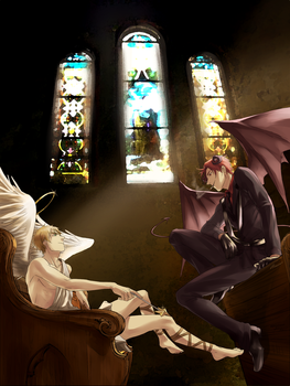 Devil and Angel [England and Scotland/APH] by RavenMushroom