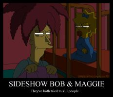 'Sideshow Bob and Maggie' poster by Nevuela