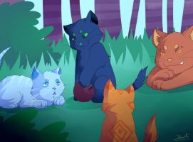 Hollykit, Lionkit, Jaykit and Squirrelflight 2 by saeru-bleuts