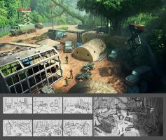 Dinosaur Harvester Outpost by Conceptibot
