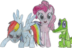 Rainbow dash pinky pie and gummy (RPG) by Undead-Summer-9