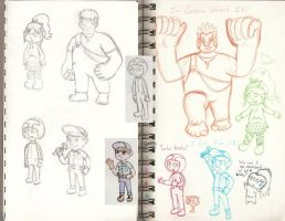 Wreck-it Ralph Sketches by Pikachu-And-Umbreon