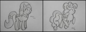 Pinkie Pie and Lotus Sketches by Gratlofatic