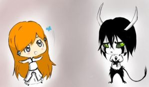 Ulquiorra and Orihime by canaryroom