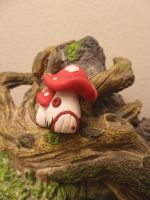Double Mushroom Fairy House by FlyingFrogCreations