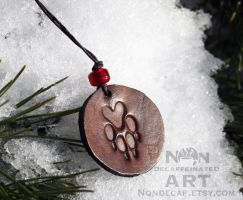 Leather Wolf Pendant with Red bead by nondecaf