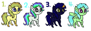 [CLOSED] Pony Adoptables #1 by strawbellycake