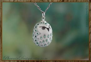 Ceramic Owl Pendant in Grey, White and Green by StephaniePride