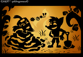 CB: Tribal Shadow puppets~ Dirt and scientists by StephDragonness