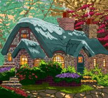 Thomas Kinkade cottage by HelenLight