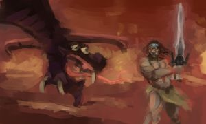 Conan fights the Dragon by LaughtonMcCry