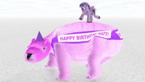 Twilight Sparkle Dancing on a Giant Pink Wombat by ManyardButler