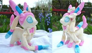 Bigger Sylveon Ninfia Plushie by dollphinwing