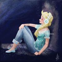 Elsa listening to music by banana-fox