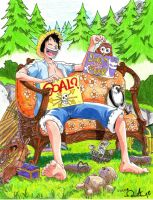 Luffy sitting In a Chair by alan181818