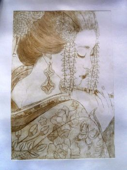 Geisha - drypoint by Jakly