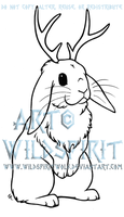 Jackalope Lop Rabbit Lineart by WildSpiritWolf