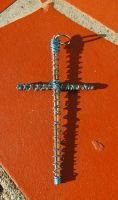 Turquoise and Copper Guitar String Cross by Adriellovesart
