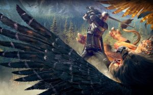 Witcher and griffin by Scratcherpen